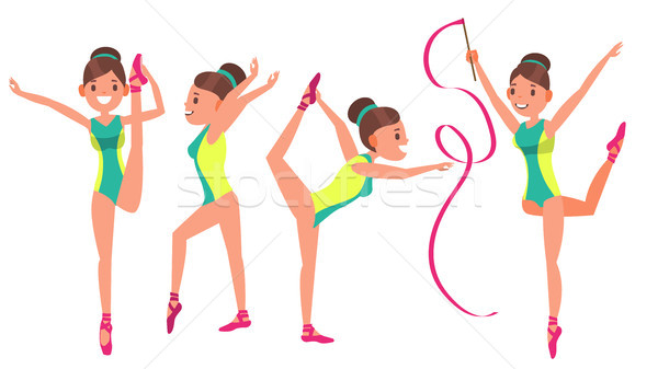 Gymnastics Girl Player Female Vector. Exercise Tournament. Plasticity. Decorative. Cartoon Athlete C Stock photo © pikepicture