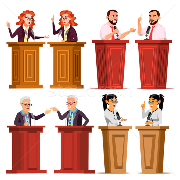 Speaker Set Vector. Man, Woman Giving Public Speech. Businessman, Politician. Debates. Presentation. Stock photo © pikepicture