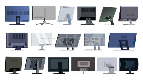 Monitor Set Vector. Modern Monitors, Laptop. Office, Home, Computer Monitors Screen, Digital Display Stock photo © pikepicture