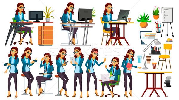Irodai dolgozó vektor nő boldog szolgáló alkalmazott Stock fotó © pikepicture