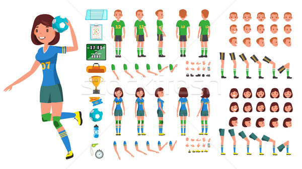 Handball Player Male, Female Vector. Animated Character Creation Set. Man, Woman Full Length, Front, Stock photo © pikepicture