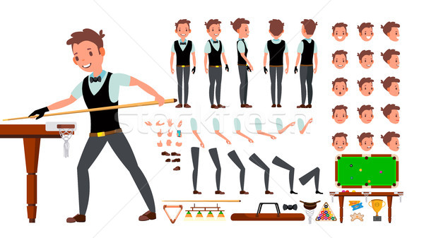 Snooker Player Male Vector. Animated Character Creation Set. Billiard. Man Full Length, Front, Side, Stock photo © pikepicture
