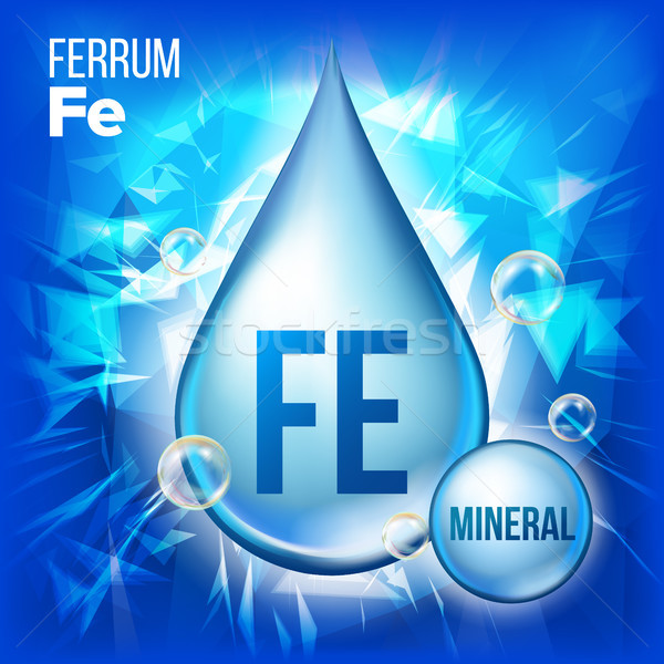 Fe Ferrum Vector. Mineral Blue Drop Icon. Vitamin Liquid Droplet Icon. Substance For Beauty, Cosmeti Stock photo © pikepicture