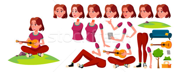 Teen Girl Vector. Animation Creation Set. Face Emotions, Gestures. Fun, Cheerful. Animated. For Card Stock photo © pikepicture