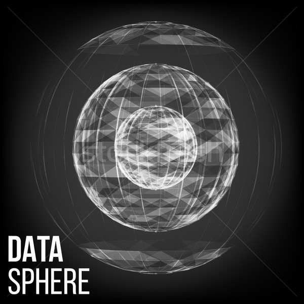Abstract Glowing Sphere Vector. Big Data Sphere. Vector Cyber Sphere Structure Representation. Stock photo © pikepicture