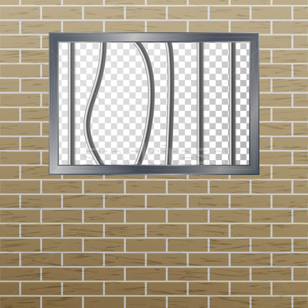 Prison Window With Bars And Brick Wall. Vector Pokey Concept. Prison Grid Isolated. Stock photo © pikepicture