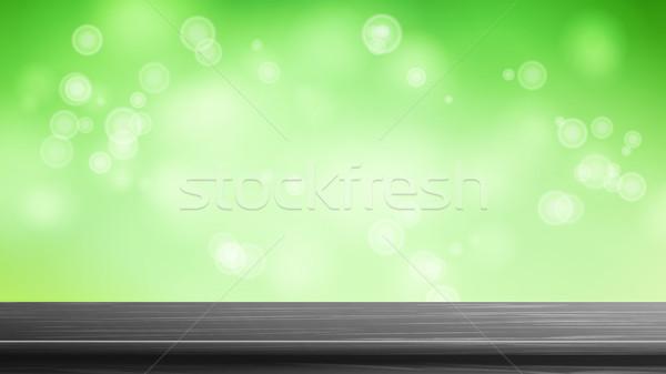 Stockfoto: Houten · tafel · top · vector · bruin · bokeh · abstract