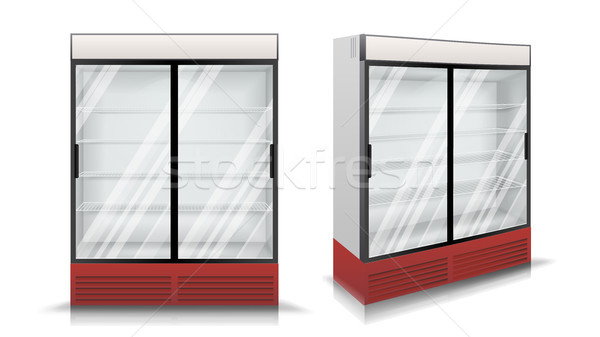 Refrigerator Vector. Fridge With Two Glass Sliding Doors. Isolated Illustration Stock photo © pikepicture