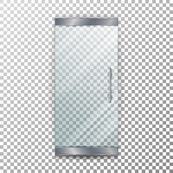 Glass Door Transparent Vector. Architectural interior symbol With Soft Shadow In Front Isolated On C Stock photo © pikepicture