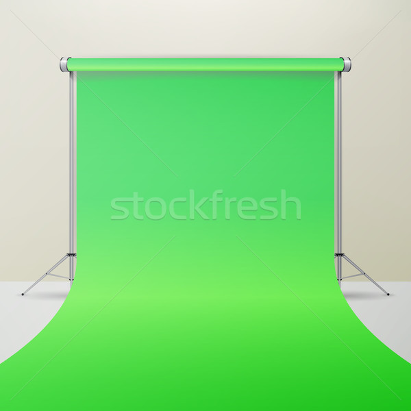 Green Hromakey Vector. Realistic 3D Template Mock Up. Isolated Illustration. Stock photo © pikepicture