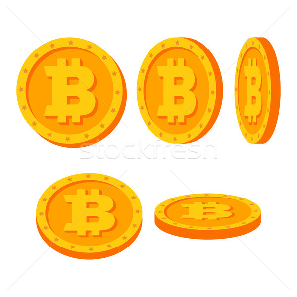 Bitcoin Gold Coins Vector Set. Flat, Cartoon. Flip Different Angles. Digital Currency Money. Investm Stock photo © pikepicture