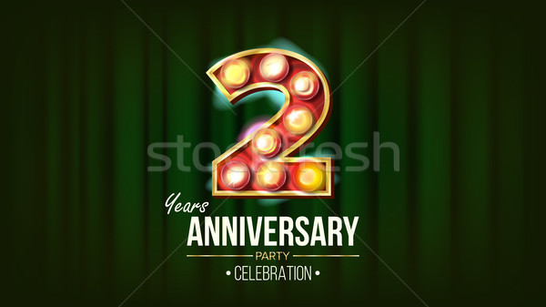 2 Years Anniversary Banner Vector. Two, Second Celebration. 3D Glowing Element Digits. For Happy Bir Stock photo © pikepicture