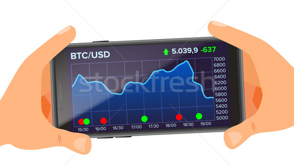 Bitcoin Application Web Charts Vector. Hand Holding Smartphone. Bitcoin Exchange App. Digital Money. Stock photo © pikepicture