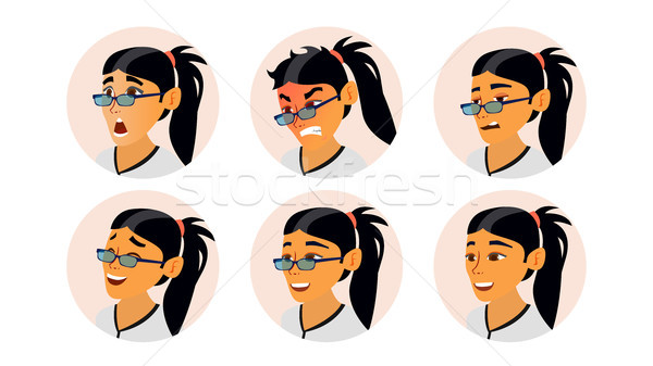 Asian Woman Avatar Vector. Asiatic Woman Face, Emotions Set. Character Business People. Cartoon Illu Stock photo © pikepicture