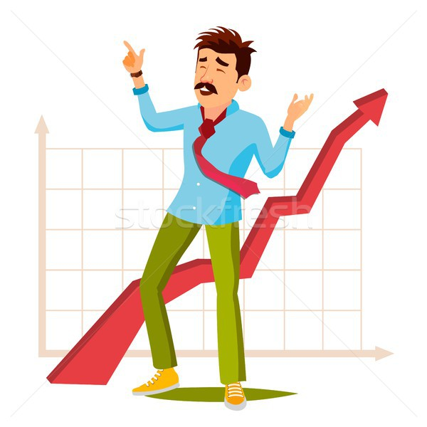 Happy Businessman Vector. Happy Workman Celebrating Success. Expressing Gesture. Achievement. Isolat Stock photo © pikepicture