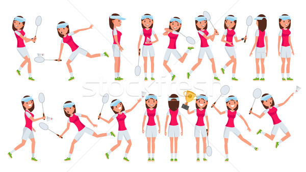 Tollaslabda lány játékos női vektor játszik Stock fotó © pikepicture
