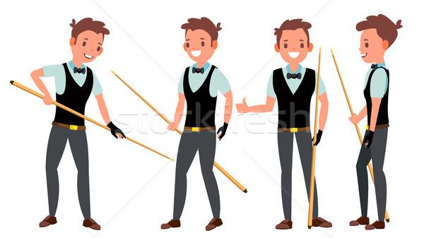 Snooker férfi játékos vektor tevékenység profi Stock fotó © pikepicture