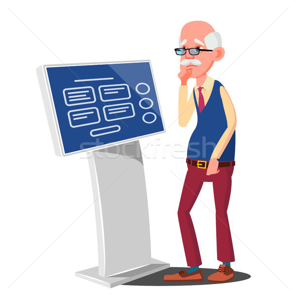 Old Man Using ATM, Digital Terminal Vector. Advertising Touch Screen. Floor Standing. Money Deposit, Stock photo © pikepicture