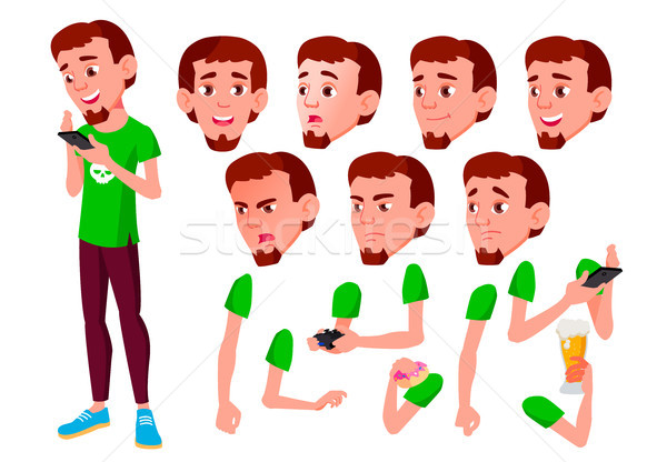 Tini fiú vektor tinédzser aktív arc Stock fotó © pikepicture