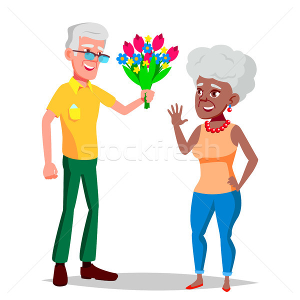 Elderly Couple Vector. Grandfather And Grandmother. Face Emotions. Happy People Together. Black, Afr Stock photo © pikepicture