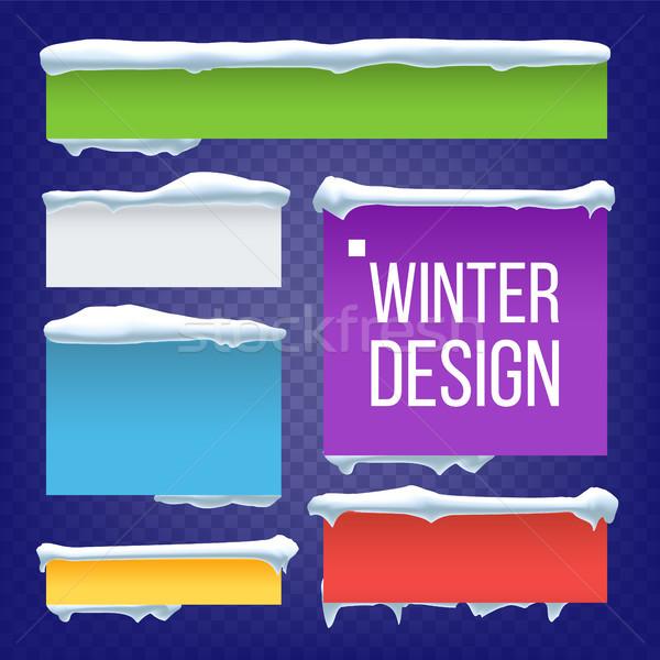 Banner przycisk śniegu wektora nowy rok zimą Zdjęcia stock © pikepicture