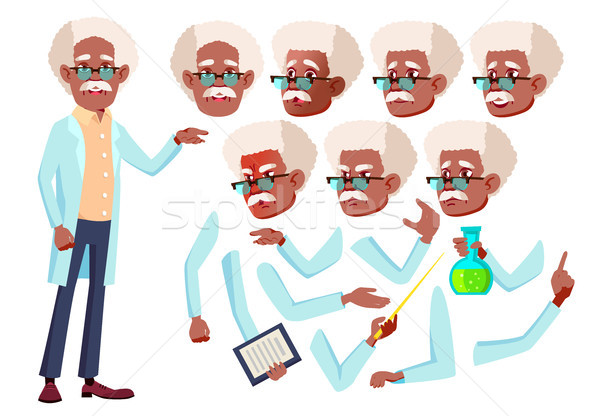 Old Man Vector. Senior Person. Black. Afro American. Aged, Elderly People. Scientist, Doctor. Face E Stock photo © pikepicture