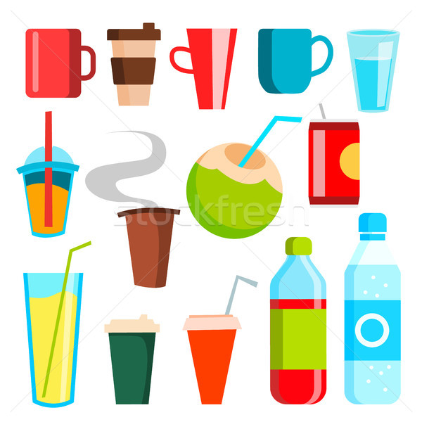 Drink Icons Vector. Soda, Fast Food, Coffee, Coctail. Mug, Bottled Beverage, Vitamin Juice, Sparklin Stock photo © pikepicture