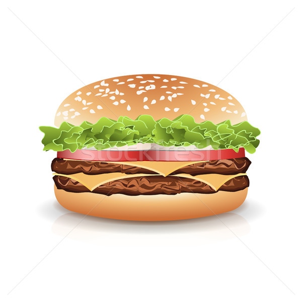 Fast food realistisch hamburger vector hamburger icon Stockfoto © pikepicture