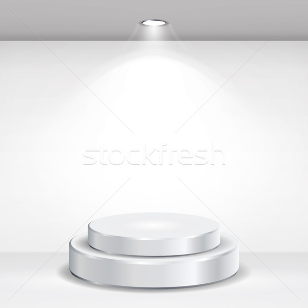 Round Empty Podium Vector. Realistic Tribune On Gallery Interior With Empty Wall And Lamps. Vector I Stock photo © pikepicture
