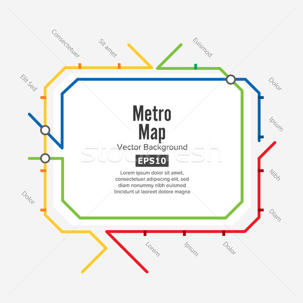Metro Map Vector. Fictitious City Public Transport Scheme. Colorful Background With Stations Stock photo © pikepicture