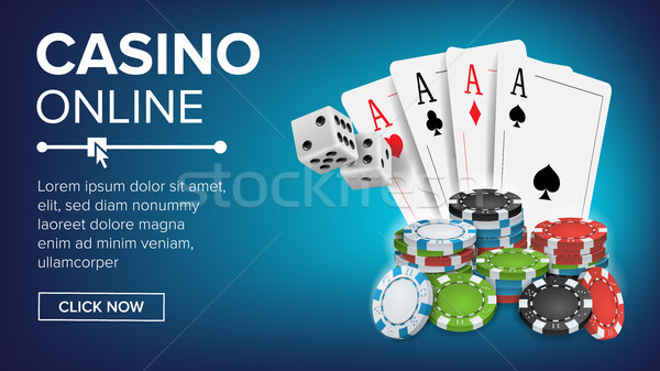 Casino Poker Design Vector. Success Winner Royal Casino Poster. Poker Cards, Chips, Playing Gambling Stock photo © pikepicture
