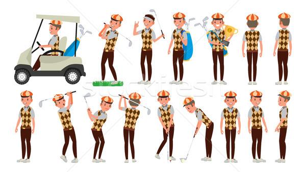 Clássico jogador de golfe vetor balançar tiro desenho animado Foto stock © pikepicture