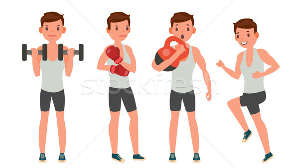 Fitness Man Vector. Different Poses. Work Out. Active Fitness. Flat Cartoon Illustration Stock photo © pikepicture