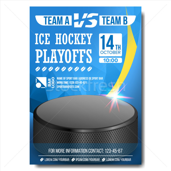 Ice Hockey Poster Vector. Design For Sport Bar Promotion. Ice Hockey Puck. A4 Size. Modern Winter Ch Stock photo © pikepicture