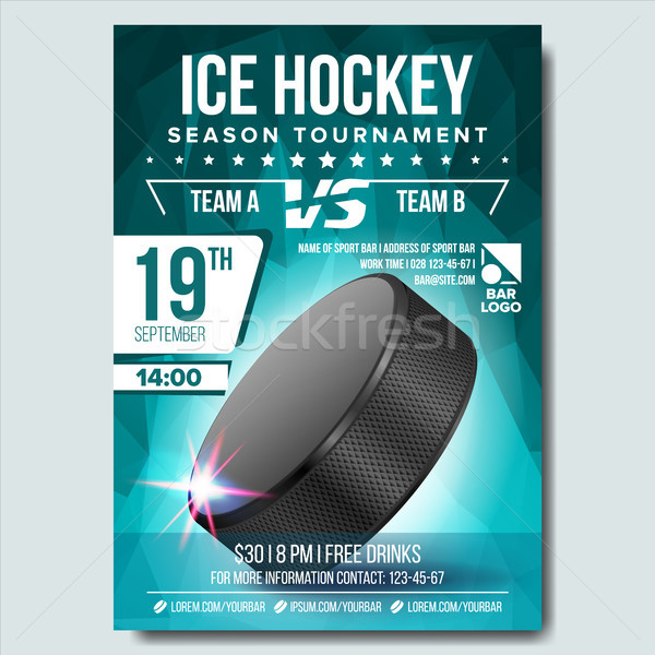 Ice Hockey Poster Vector. Banner Advertising. A4 Size. Sport Event Announcement. Winter Game, League Stock photo © pikepicture