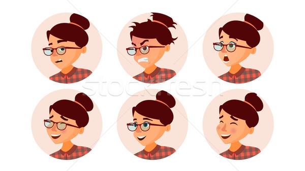 Mujer de negocios avatar vector rostro de mujer emociones establecer Foto stock © pikepicture