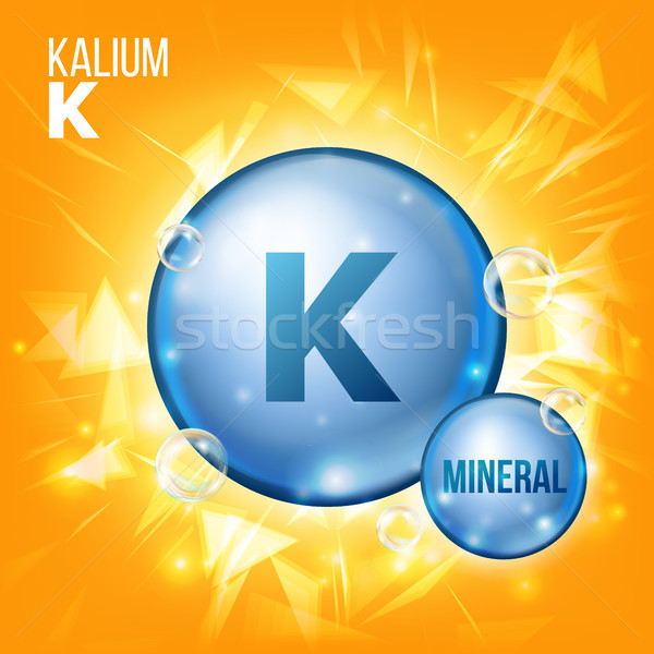 K Kalium Vector. Mineral Blue Pill Icon. Vitamin Capsule Pill Icon. Substance For Beauty, Cosmetic,  Stock photo © pikepicture