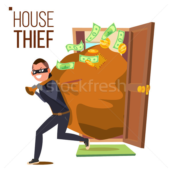 Thief And Door Vector. Bandit With Bag. Breaking Into House Through Door. Insurance Concept. Burglar Stock photo © pikepicture