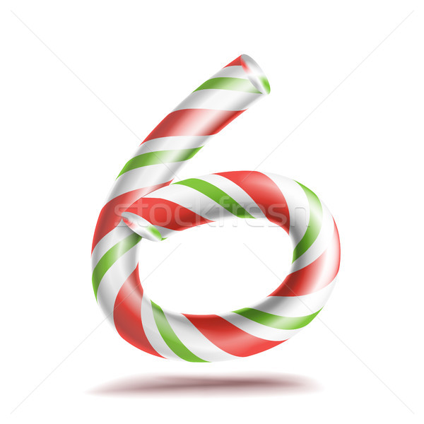 6, Number Six Vector. 3D Number Sign. Figure 6 In Christmas Colours. Red, White, Green Striped. Clas Stock photo © pikepicture