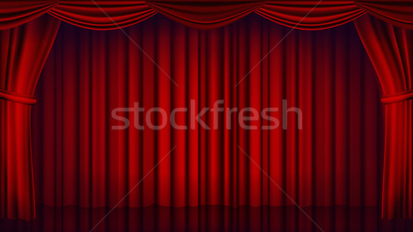 Red Theater Curtain Vector. Theater, Opera Or Cinema Closed Scene. Realistic Red Drapes Illustration Stock photo © pikepicture