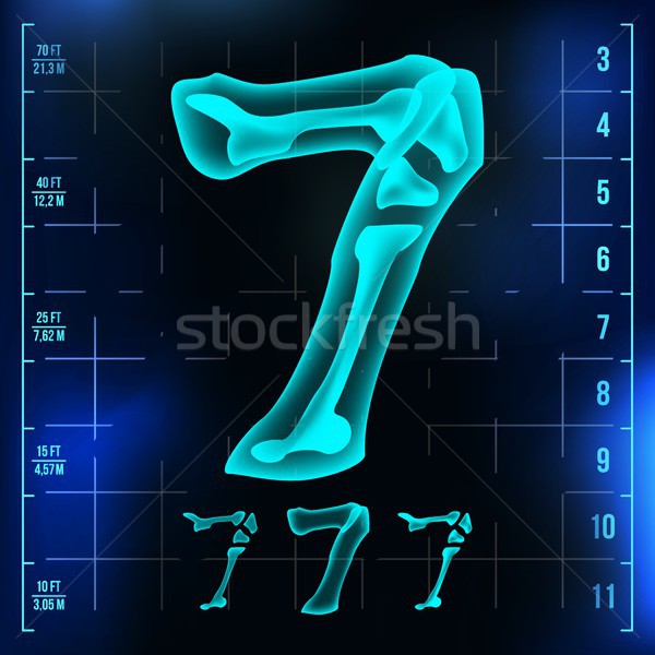 7 Number Vector. Seven Roentgen X-ray Font Light Sign. Medical Radiology Neon Scan Effect. Alphabet. Stock photo © pikepicture