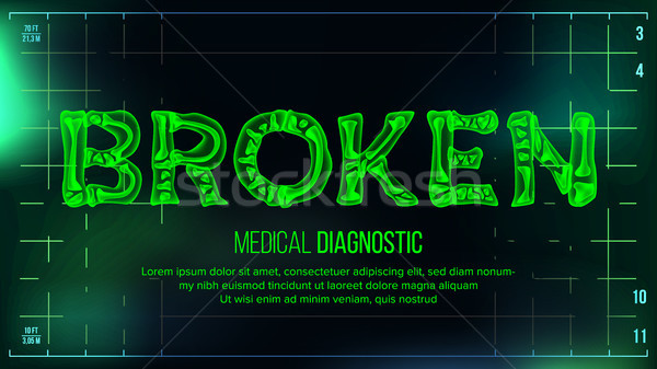 Broken Banner Vector. Medical Background. Transparent Roentgen X-Ray Text With Bones. Radiology 3D S Stock photo © pikepicture