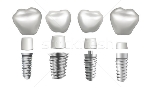 Dental Implant Set Vector. Tooth Set. Dental Health. Stomatology Dentistry. Whitening Design. Realis Stock photo © pikepicture