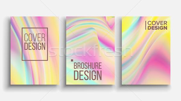Minimal Covers Design Vector. Fluid Iridescent. Pastel Or Neon Color Texture Background. Illustratio Stock photo © pikepicture