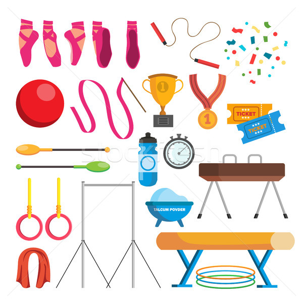 Stock photo: Gymnastics Icons Set Vector. Gymnastic Accessories. Ball, Rings, Mace, Hoop, Tape. Isolated Flat Car