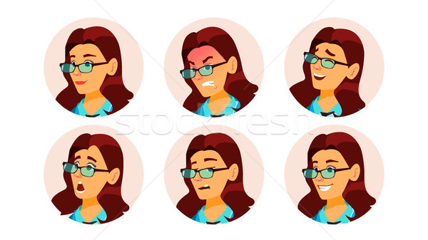 Woman Avatar People Vector. Facial Emotions. Comic Face Art. Pretty User. Secretary, Accountant. Hap Stock photo © pikepicture