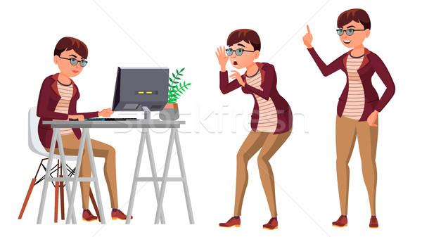 Büroangestellte Vektor Frau glücklich Diener Mitarbeiter Stock foto © pikepicture