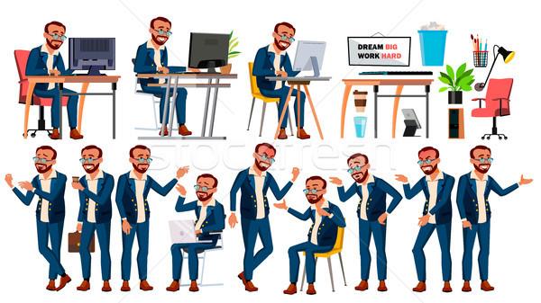 Trabalhador de escritório vetor cara emoções gestos Foto stock © pikepicture