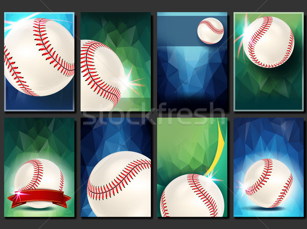 Baseball Poster Set Vector. Empty Template For Design. Promotion. Base. Baseball Ball. Modern Tourna Stock photo © pikepicture