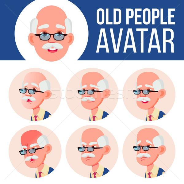 Idős férfi avatar szett vektor arc érzelmek Stock fotó © pikepicture